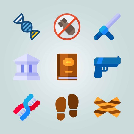 Icon set about Crime Investigation. with law book, no bomb and foot print Çizim