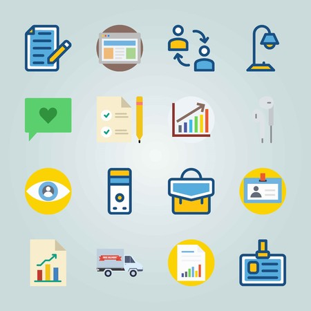 Icon set about Digital Marketing. with eam, columns and driving license