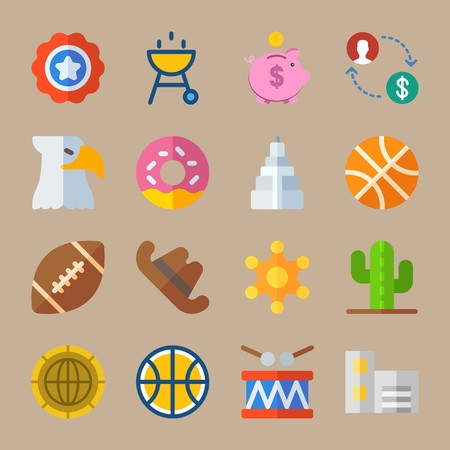 Icon set about United States. with symbol, american symbol and cookie Illustration