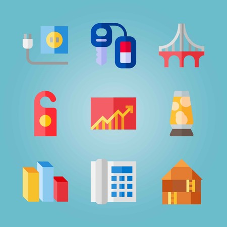 Icon set about Real Assets. with lamp, chart and car key Ilustrace