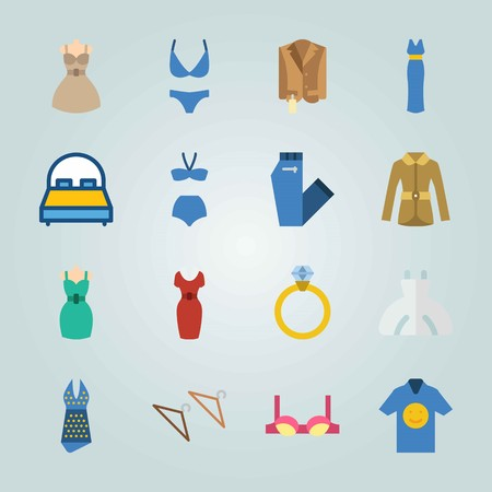 Icon set about Clothes And Accessories. with hanger, dress and ring