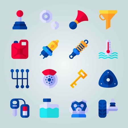 Icon set about Car Engine. with water box, strut mount and car lights Illustration