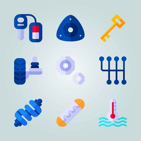 Icon set about Car Engine. with suspension, car key and key