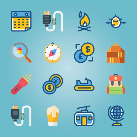Icon set about Travel. with ccompass, earth and house Zdjęcie Seryjne - 94643089