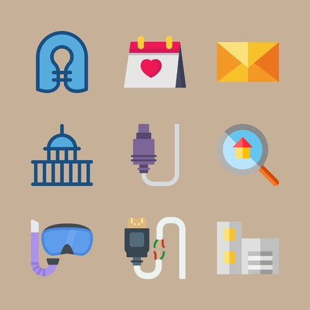 icon set about travel with diving glasses, house and glasses Vectores