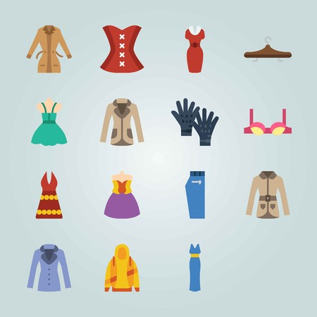 Icon set about Clothes And Accessories. with dress, hoodie and jeans Ilustração