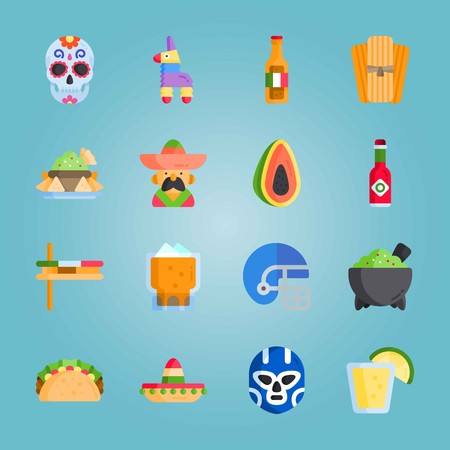 Icon set about Mexican Holiday De Mayo. with tequila, nachos and tabasco