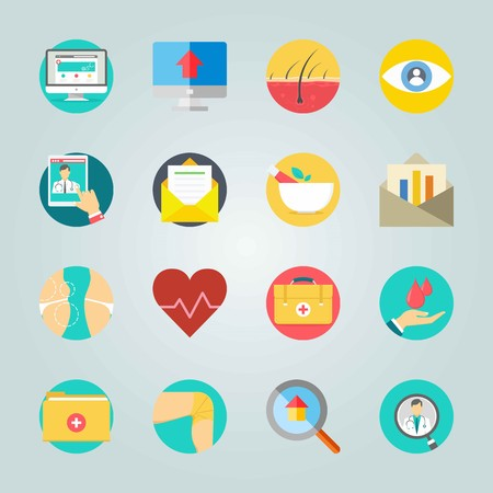 Icon set about Medical. with first aid kit, heart and medicine box Illustration