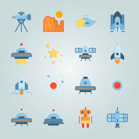 Icon set about Universe. with satellite, telescope and stars