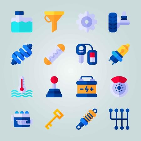 Icon set over automotor. met demper, sleutel en motor
