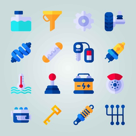 Icon set about Car Engine. with damper, key and motor