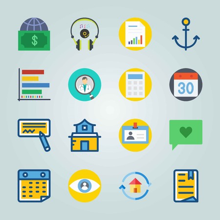 Icon set about Digital Marketing. with driving license, bar chart and anchor