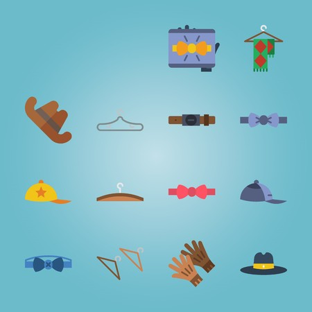 icon set about Man Accessories with bow tie, red cap, cowboy hat, belt and gloves