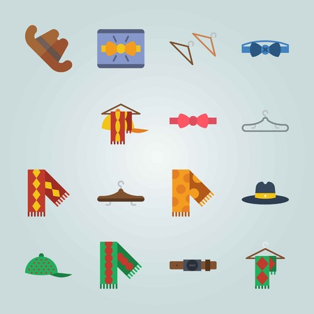 Icon set about Man Accessories. with scarf on hanger, fedora hat and baseball yellow cap