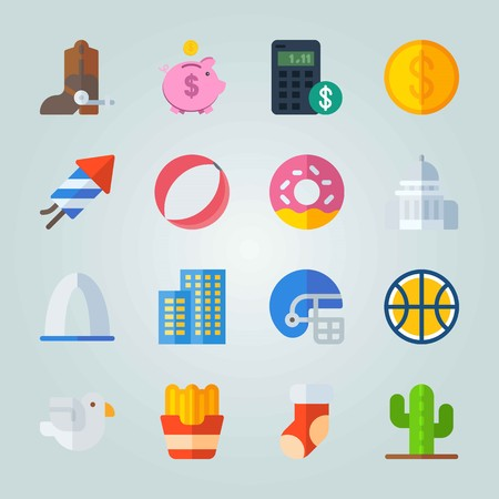 Icon set about United States. with piggy bank, donut and plant