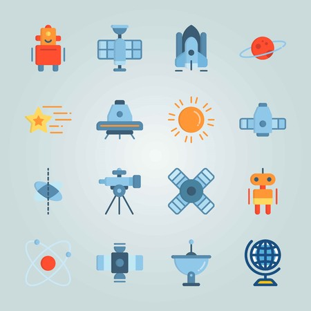 Icon set about Universe. with planet, sun system and satellite dish Zdjęcie Seryjne - 94643124