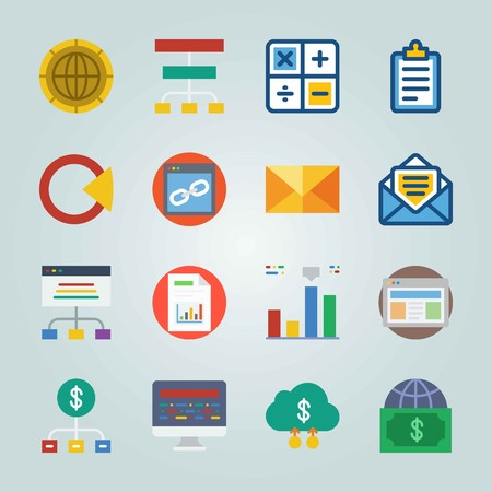 Icon set about Marketing. with graphic, mail and list of columns