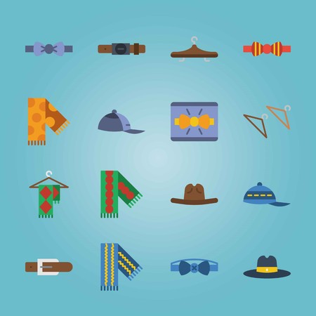 Icon set about Man Accessories. with red-yellow bow tie, blue bow tie and blue cap