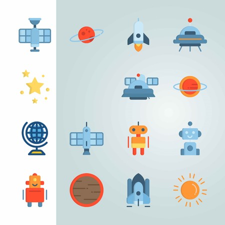 Icon set about Universe. with sun, alien and globus