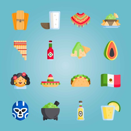 Icon set about Mexican Holiday De Mayo. with tequila, mexican hat and mexican flag