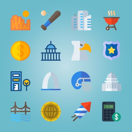icon set about United States with bat, coin, gateway arch, american football and entrance