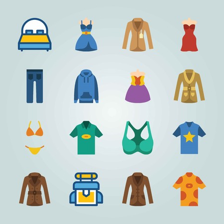 Icon set about Clothes And Accessories. with jeans, shirt and hoodie Иллюстрация