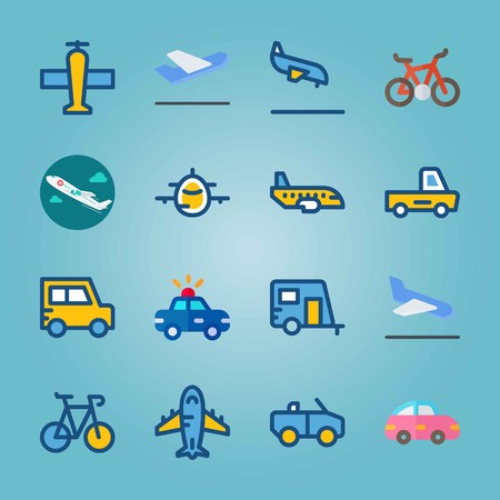 Icon set about Transport. with jet, pink car and cabriolet