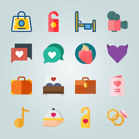 Icon set about Wedding. with heart, message and bag