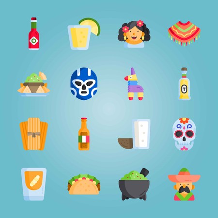 Icon set about Mexican Holiday De Mayo. with tamales, helmet and mezcal Illustration