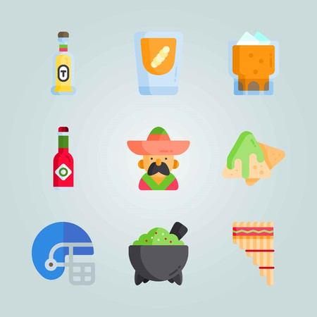 Icon set about Mexican Holiday De Mayo. with mexican man, nachos and tabasco
