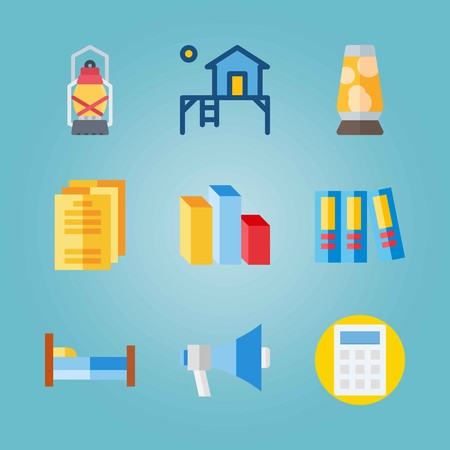 Icon set about Real Assets. with files, lava lamp and house Çizim