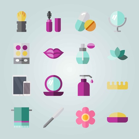 Icon set about Beauty. with makeup, towel and lotus
