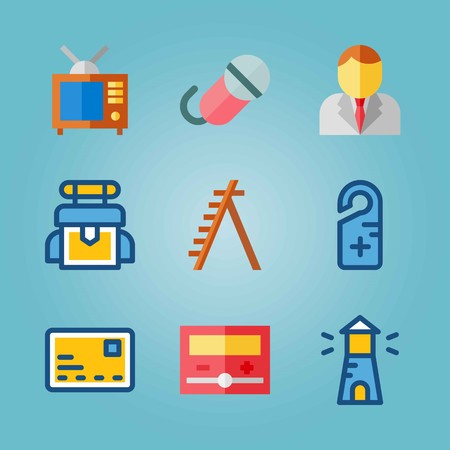 Icon set about Real Assets. with bag, microphone and ladder Ilustrace