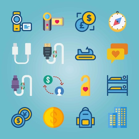 Icon set about Travel. with ccompass, money and connector Ilustrace