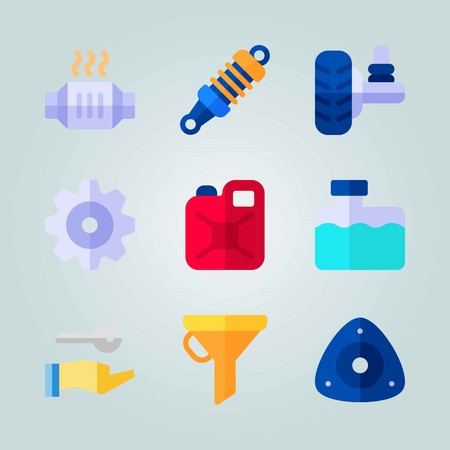 Icon set about Car Engine. with damper, jerry can and catalytic converter