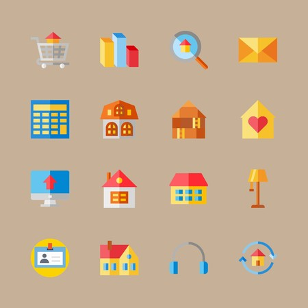 icon set about digital marketing with mail, driving license and home Illustration