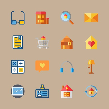 icon set about digital marketing with earphones, mail and glasses