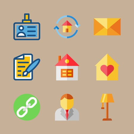 icon set about digital marketing with exam, home and lamp