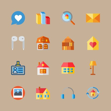icon set about digital marketing with chat, mail and house 免版税图像 - 95588096
