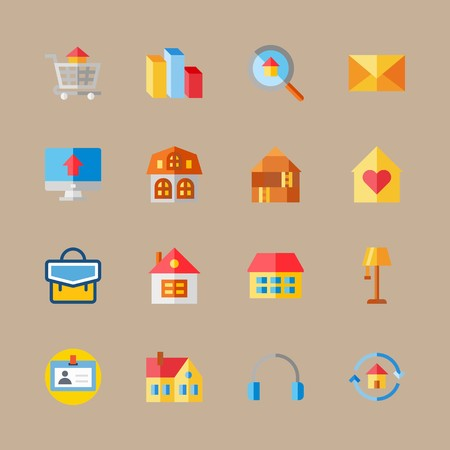 Icon set about digital marketing with house, columns and chart