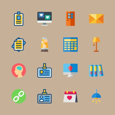 icon set about education and school with lava lamp, page and list