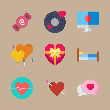 icon set about romance lifestyle with candy, cardiogram and cupid Vettoriali