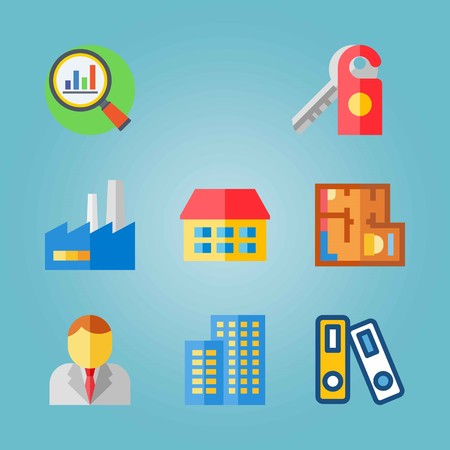 Icon set about Real Assets. with columns, magnifier and doorknob Ilustrace