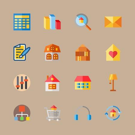 icon set about digital marketing with pen, mail and lamp Illusztráció