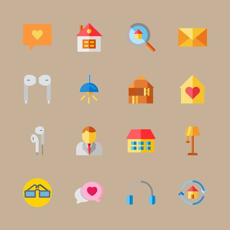 icon set about digital marketing with earphones, lamp and home