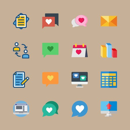 icon set about marketing with checklist, calendar and chart