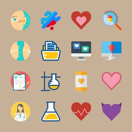 icon set about medical with box of papers, eye and invoice