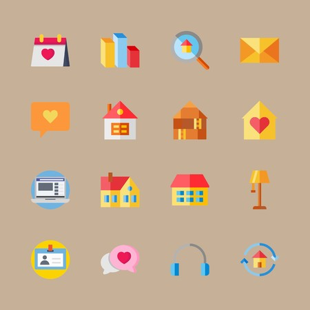 icon set about digital marketing with mail, columns and earphones