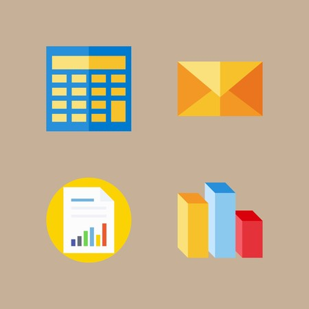 icon set about marketing with mail, calculator and letter