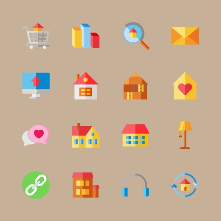 icon set about digital marketing with letter, chart and headphones Vettoriali
